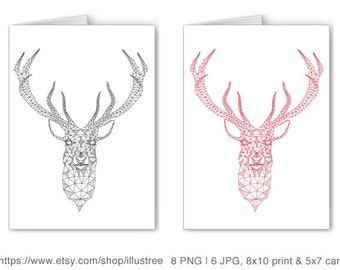 Unique Christmas card, deer head with abstract geometric pattern, reindeer, digital clip art, clipart set, drawing, Xmas, instant download
