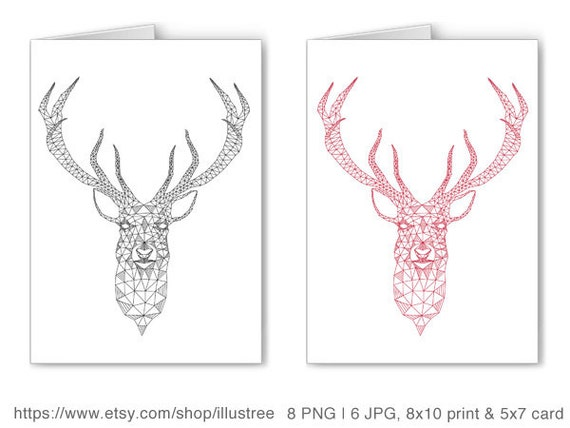 Unique Christmas Card Deer Head With Abstract Geometric