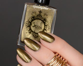 Invisible Cloak SPELL iridescent top coat shimmery GOLD & PINK nail polish!