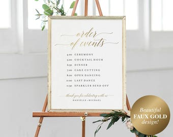 Faux Gold Order of Events Sign, Wedding Timeline Sign, Wedding Sign, Wedding Itinerary, Bliss Paper Boutique, Instant Download #BPB324_84