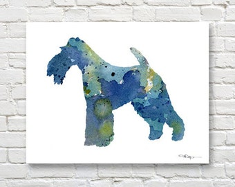 Wire Fox Terrier Art Print - Abstract Watercolor Painting - Wall Decor