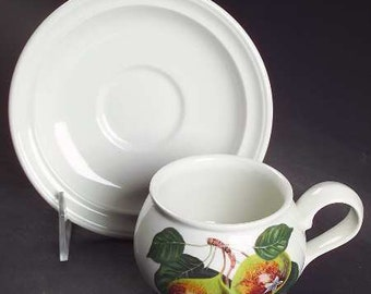 Portmeirion Pomona u0027The Teinton Squash Pearu0027 Romantic Footed 2 1/2  Cup and Saucer Set; New Vintage & Portmeirion pomona | Etsy