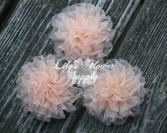 Light Petti Puff - Puff - THREE - Chiffon Flower - Chiffon Rosette - Ruched Flower - Embellishment - Headband Supply - Peach - Wholesale