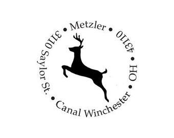 Reindeer Christmas return address custom rubber stamp