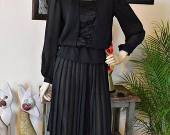 Vintage 80s Black Pleated Chiffon Dress S/M