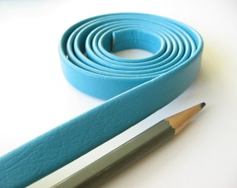 Faux synthetic leather pleather strap trim turquoise