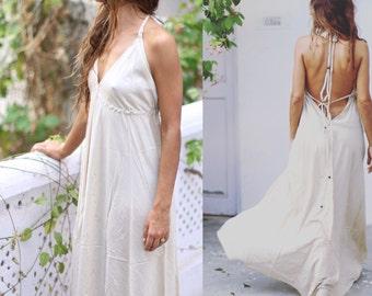 NANDA Long boho dress, boho dress, bridesmaid dress, open back dress, maxi dress, summer dress, adjustable dress, flow dress.