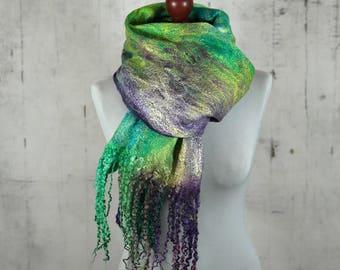 Wrap Scarf, Felted Scarf,  Felted Shawl, Hand dyed, merino wool,  wool scarf  -Feltmondo