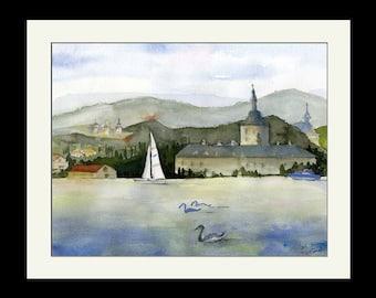 Austrian Lake Watercolor Print,  Lake Traunsee, Austria Wall Art, Gmunden Austria, Lake Traun, Hallstatt, House Warming Gift, Watercolor Art