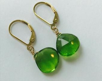 Peridot Earrings, Healing Earrings, August Birthstone, Minimalist Earrings, Charm Earrings, Dainty Earrings