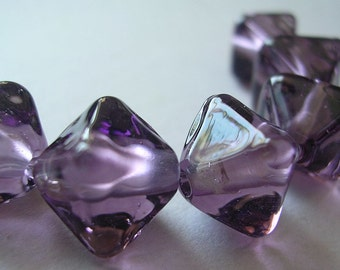 Handmade Glass Purple Lampwork Beads Ericabeads Amethyst Purple Crystal Spacers (6)