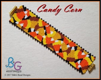 CANDY CORN Peyote Bracelet Cuff Pattern
