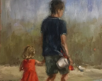 Walk to the beach - painting in oil on wood panel - size 35 x 24 cm