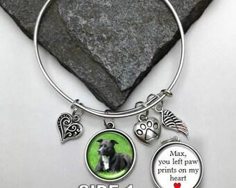 Pet Memorial Charm Bracelet, You left paw prints on my heart, Photo Memorial Bracelet, Memorial Charm Bracelet, Pet Photo Bracelet