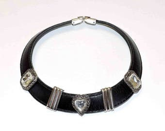 Vintage Black Leather Dog Collar Choker Necklace With Accents