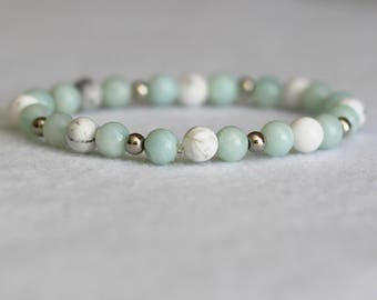6mm Amazonite & howlite bracelet, delicate bracelet, stretchy bracelet, white howlite bracelet, amazonite bracelet, white marble bracelet