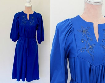 70s Royal Blue Dress/  1970s Dress/ Vintage Dress /  (small)