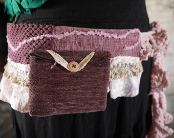 Plum purple & pink festival pocket belt. Gypsy, tribal, rave, bohemian hip bag, Glastonbury, Burning Man