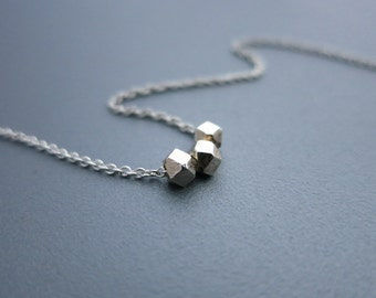 Nuggets Silver Necklace Simple Silver Necklace Small Nugget Necklace