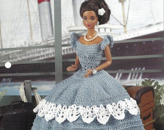Annie's Fashion Doll Crochet Club Pattern for Barbie - Simple & Sweet - Barbie Fashion Dress Crochet Pattern Designed by Elsie Caddey
