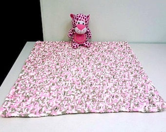 Ultra Plush Thick Pink Baby Crochet Blanket for Baby Girl or Boy
