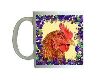 Purple Floral Flowers Chicken Hen 11oz Ceramic Coffee Mug