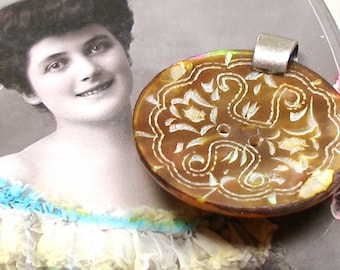 Antique BUTTON pendant, Victorian carved mother-of-pearl in yellow, pink green. One of a kind jewellery.