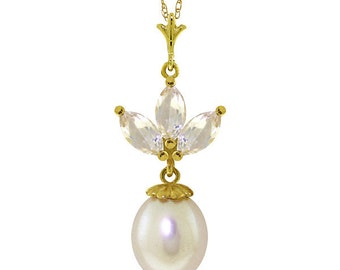 14K. solid gold  necklace  with  PEARL & WHITE TOPAZ rose/white/yellow gold