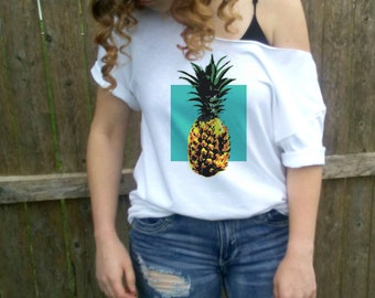 Pineapple slouchy tee, Summer shirt, slouchy shirt, Pineapple tshirt, cute t-shirt, Dolman, Slouchy Shirt, White Slouchy Off shoulder.