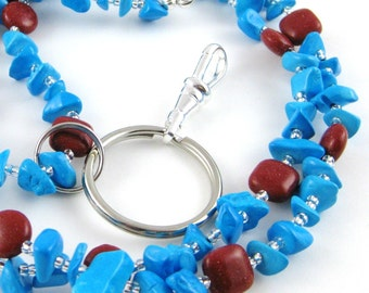 Back To School Faux Sky Blue Turquoise and Faux Red Coral Lanyard