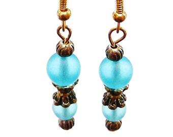 Turquoise Blue Earrings Antique Gold tone Caps Dangle Earrings Transparent Matte Blue Turquoise Glass Bead Earrings