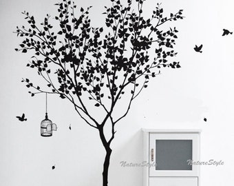 Tree Wall Decal vinyl Sticker,Nature Design birdcage birds decal winter tree decal flying birds decal - Tree with Flying Birds