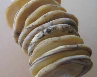 DISCS - Ivory Etched with Silver Rim -8 Handmade Lampwork Glass Beads