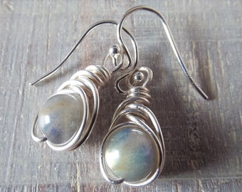 Labradorite Earrings Wire Wrap Earrings Gray Stone Earrings Gemstone Dangle Earrings Mothers Day Gift Beaded Earrings Gift for Her Grey