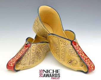 One of a kind Mojari Shoes Embroidery pattern sculpture