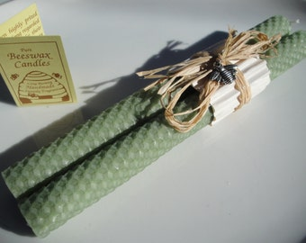 "Hand Rolled Honeycomb Beeswax Taper Candles,  8"" Pair - Cilantro (Light Pale Green) Beeswax Candles, Tapers, Green Candles , Gifts under 20"