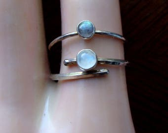 Liberty For All -- rainbow moonstone or labradorite ring -One-  solid sterling silver stackable STATEMENT- custom made in USA - LGBTQ