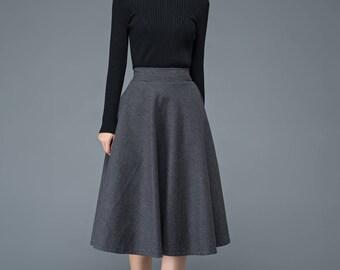 pleated skirt, midi skirt, wool skirt, flare skirt, dark gray skirt, skirt, winter skirt, womens skirts, pockets skirt C1193