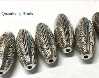 3 Big Oblong Beads - Silver - Jumbo - Large Hole