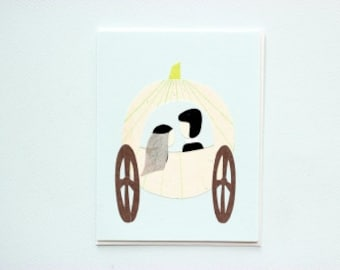Happily ever after - pumpkin wedding - papercut collage card