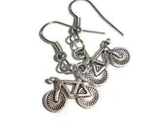 Bicycle Earrings Bicyclist Earrings Bike Earrings Silver Earrings Silver bike Earrings Athlete Earrings Gift for Bicyclist Biker Athlete