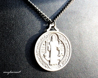 St Benedict Necklace, Catholic Jewelry for Men, LARGE St Benedict Medal, Saint Benedict Prayer, Patron Saint Jewelry, Fathers Day 2018