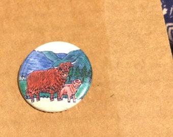 Highland Cow Pin Badge