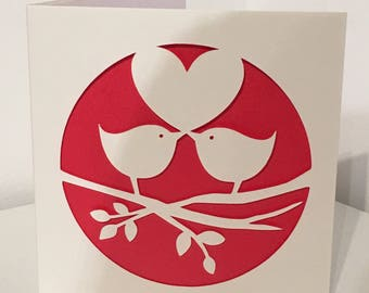 Love birds card - anniversary card - wedding card -engagement card - valentine card - romantic card - proposal card