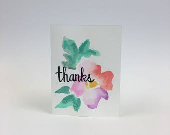 "Floral ""Thanks"" Hand Painted Greeting Card"
