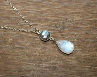 Labradorite & Moonstone Necklace, Bezel Stone Pendant, Sterling Silver, Blue Flash, Moonstone Jewelry, Gemstone Jewelry