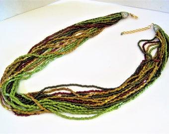 Multistrand Boho Necklace, 16 Strands, Lucite Beads, Multicolor Torsade