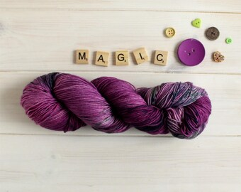 Hand dyed sock yarn - Practical Magic themed yarn - Halloween yarn - superwash sock yarn - indie dyed yarn - speckle yarn - merino wool