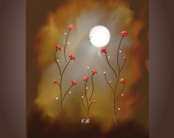 Abstract Landscape Art Print- Fire Flowers. Free Shipping inside US