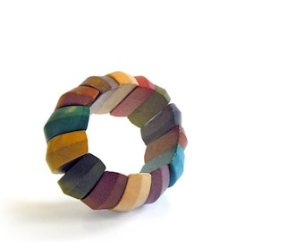 colorful wood bracelet